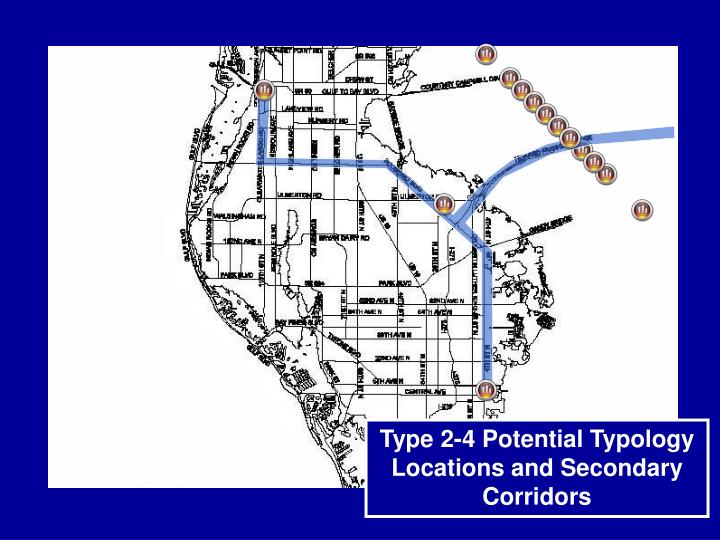 Type 2-4 Potential Typology Locations and Secondary Corridors