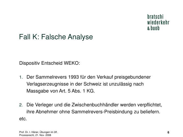 Fall K: Falsche Analyse