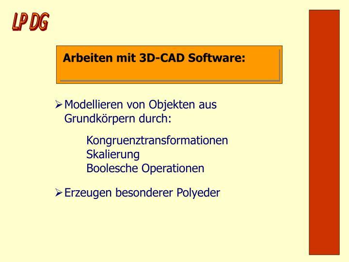 Arbeiten mit 3D-CAD Software: