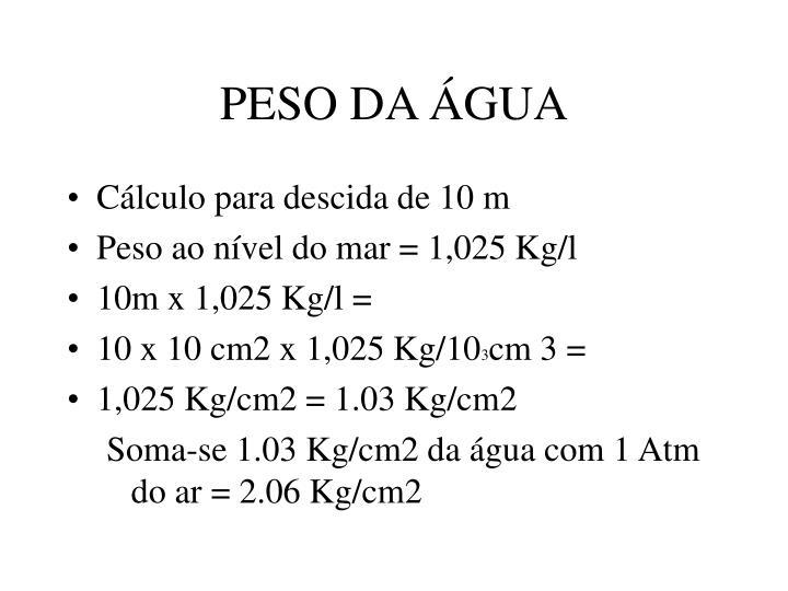 PESO DA ÁGUA