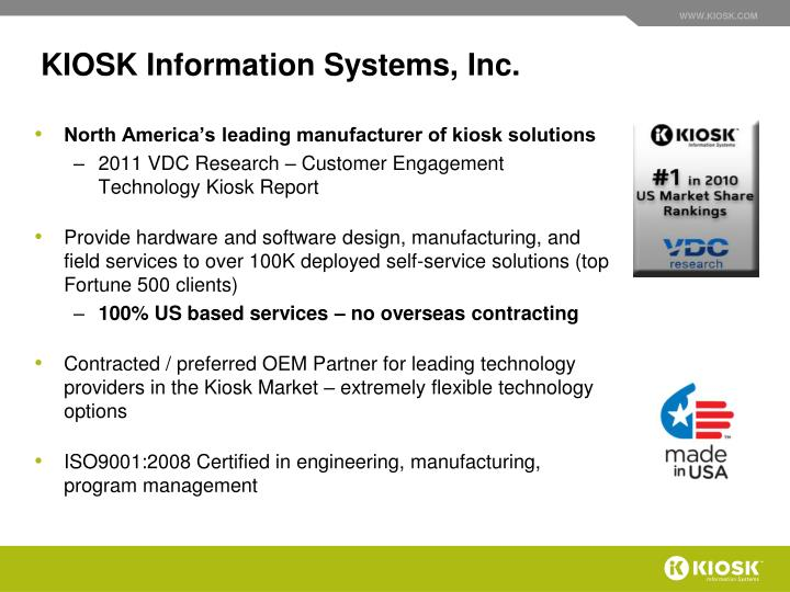 Kiosk information systems inc