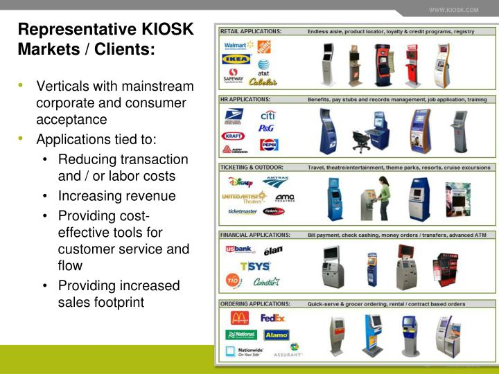Representative KIOSK Markets / Clients: