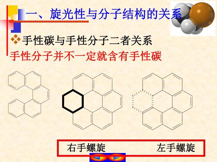 一、旋光性与分子结构的关系