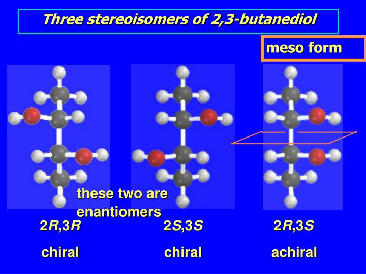 Three stereoisomers of 2,3-butanediol