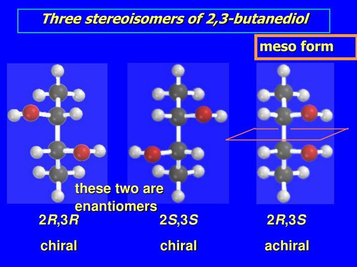 Three stereoisomers of 2,3-butanediol