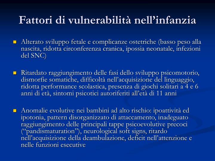 Fattori di vulnerabilità nell'infanzia