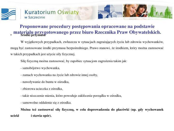 Proponowane procedury postępowania opracowane
