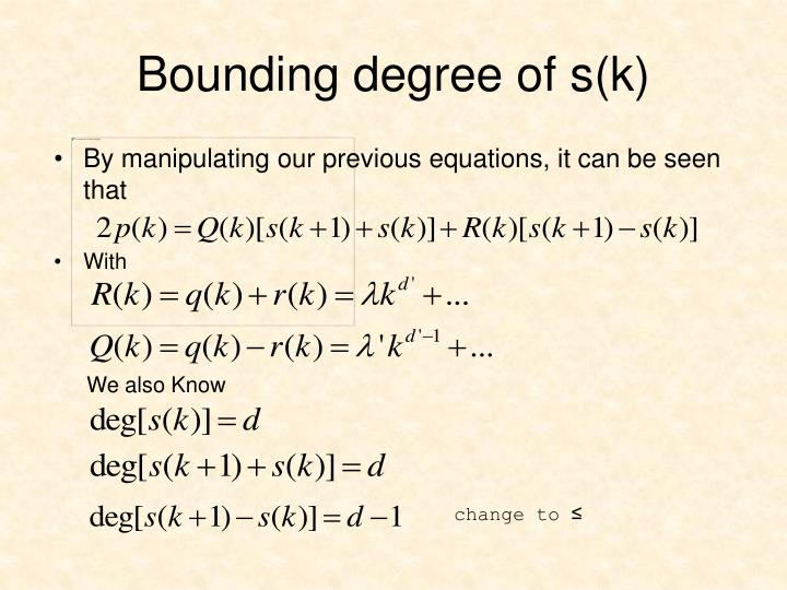 By manipulating our previous equations, it can be seen that