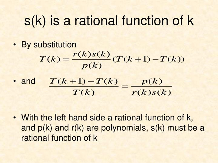 s(k) is a rational function of k