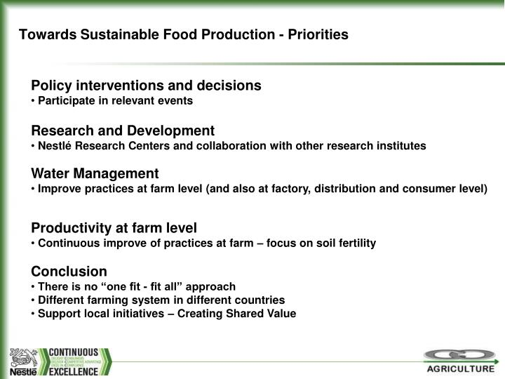 Towards Sustainable Food Production - Priorities