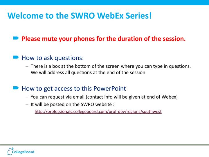 Welcome to the swro webex series