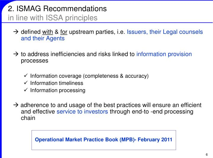 2. ISMAG Recommendations