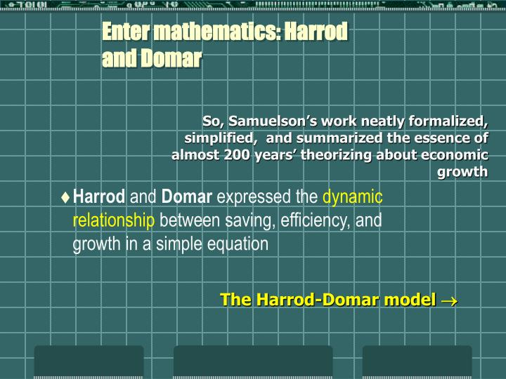 Enter mathematics: Harrod and Domar