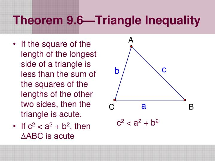 If the square of the length of the longest side of a triangle is less than the sum of the squares of the lengths of the other two sides, then the triangle is acute.