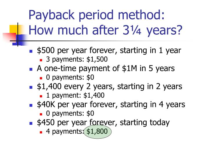 Payback period method: