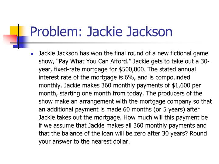 Problem: Jackie Jackson
