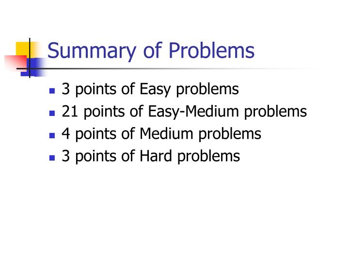 Summary of Problems