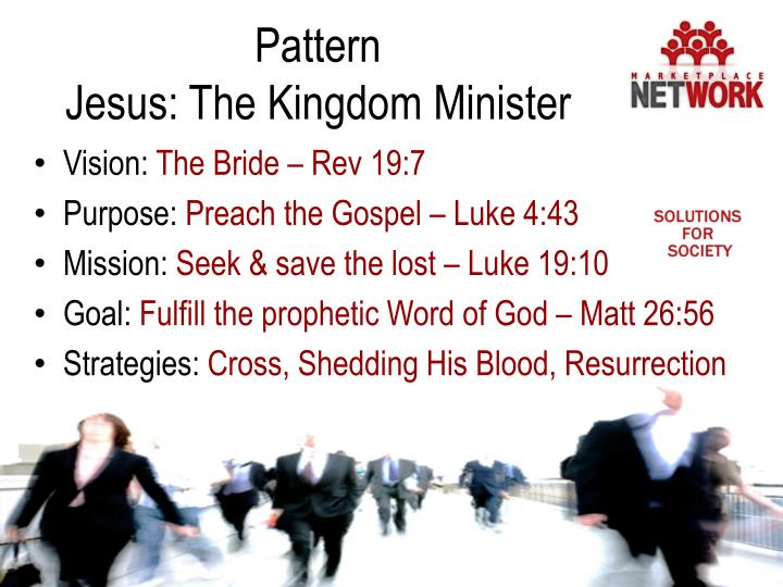 Pattern                                        Jesus: The Kingdom Minister