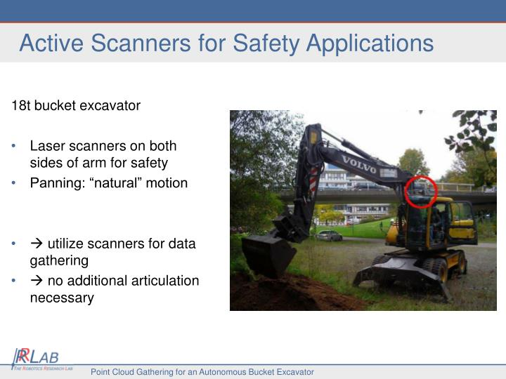 Active scanners for safety applications