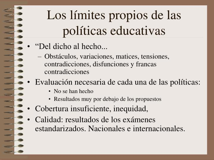Los límites propios de las políticas educativas