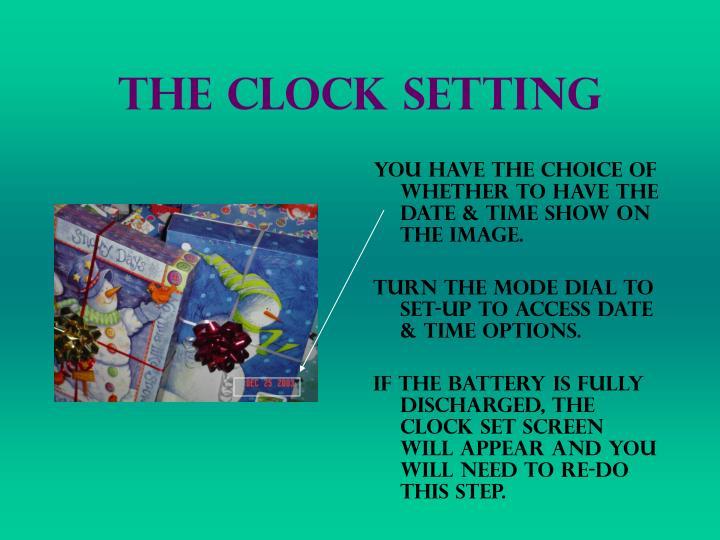 The clock setting
