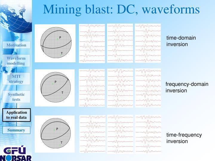 Mining blast: DC, waveforms