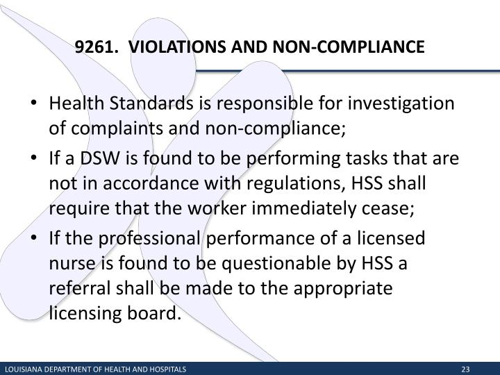 9261.  VIOLATIONS AND NON-COMPLIANCE