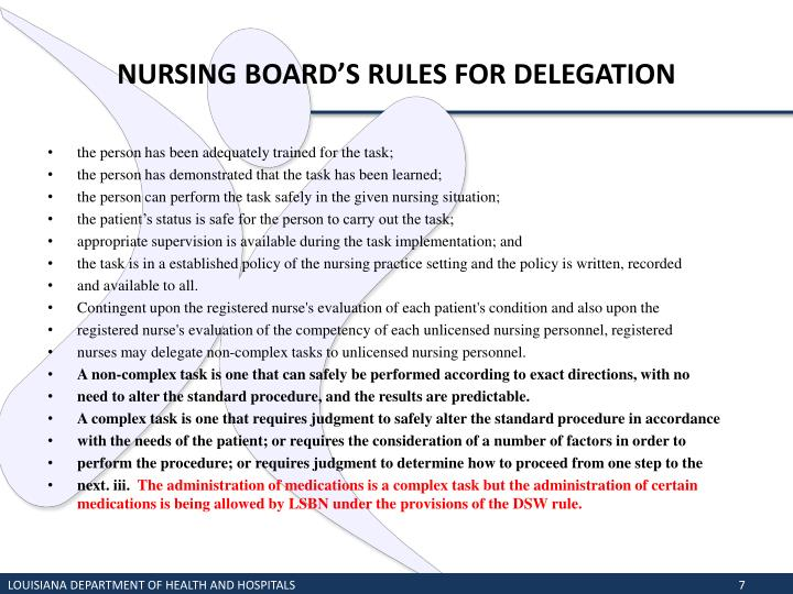 NURSING BOARD'S RULES FOR DELEGATION