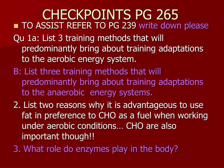 CHECKPOINTS PG 265