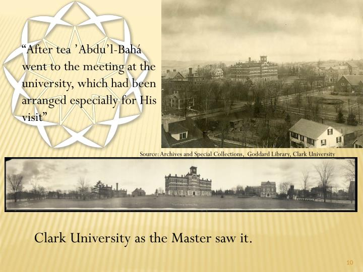 """After tea 'Abdu'l-Bahá went to the meeting at the university, which had been arranged especially for His visit"""