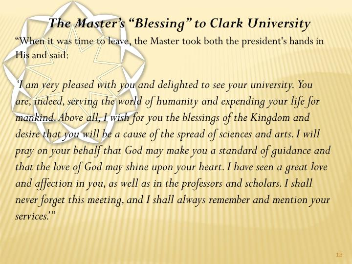 "The Master's ""Blessing"" to Clark University"