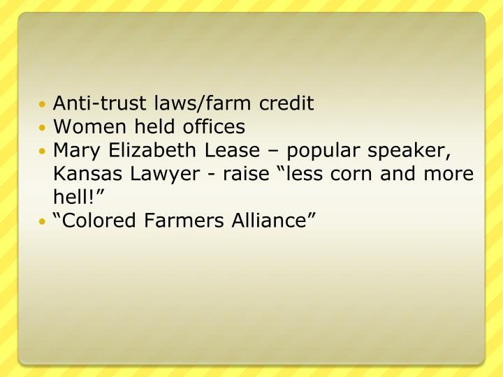Anti-trust laws/farm credit