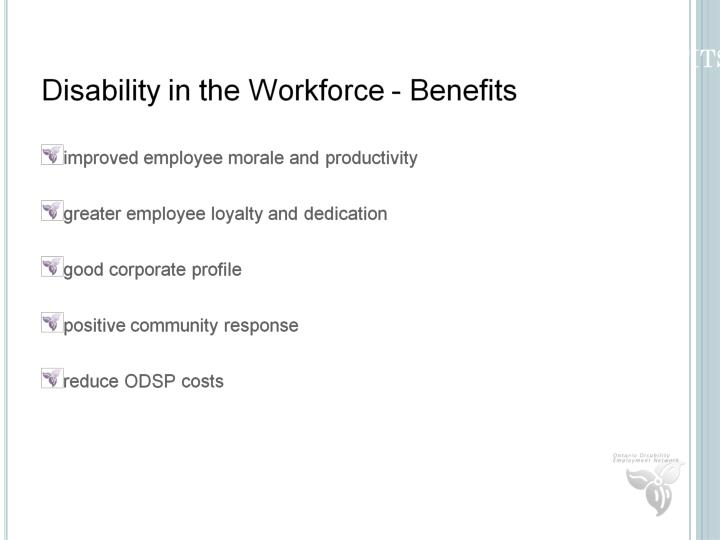 Disability in the Workplace - Benefits