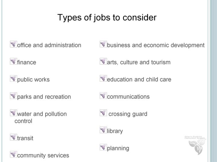 Types of Jobs to