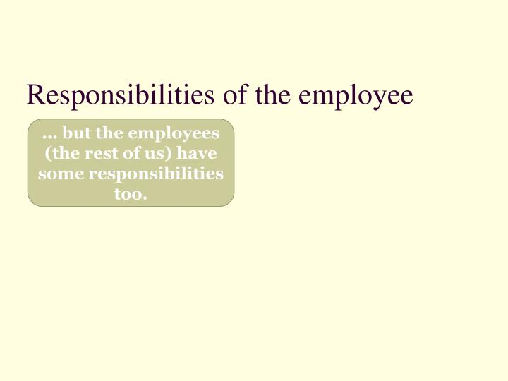 Responsibilities of the employee