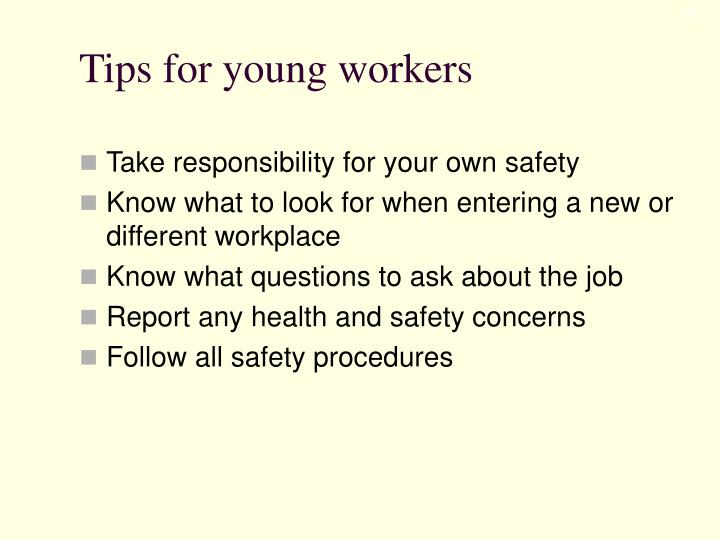 Tips for young workers