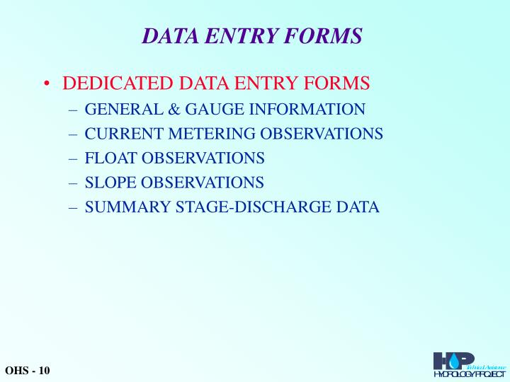 DATA ENTRY FORMS