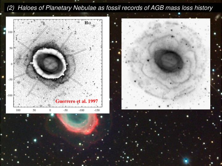 (2)  Haloes of Planetary Nebulae as fossil records of AGB mass loss history
