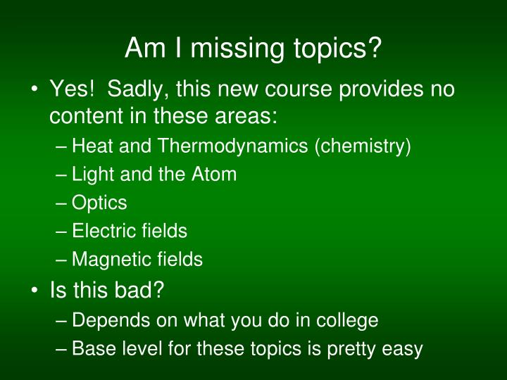Am I missing topics?