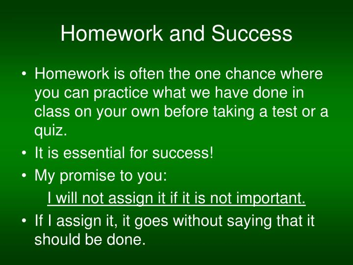 Homework and Success