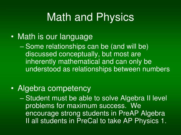 Math and Physics