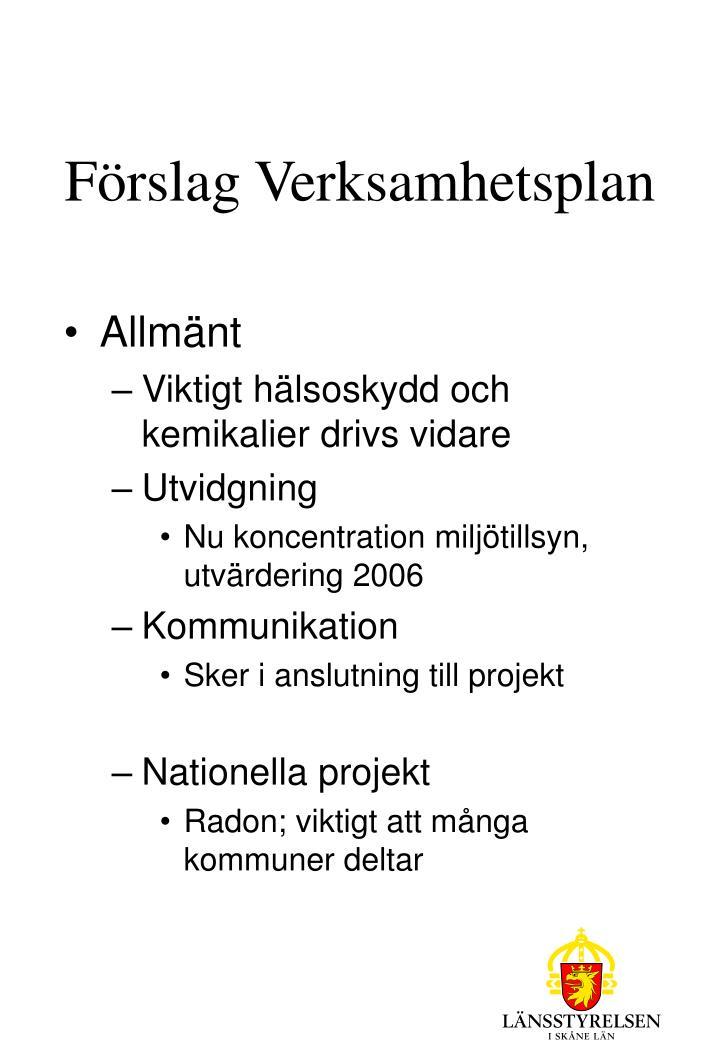 Förslag Verksamhetsplan