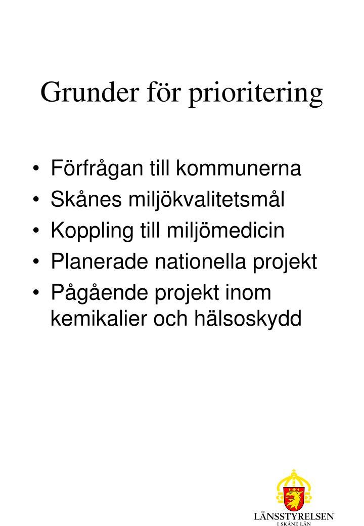Grunder för prioritering