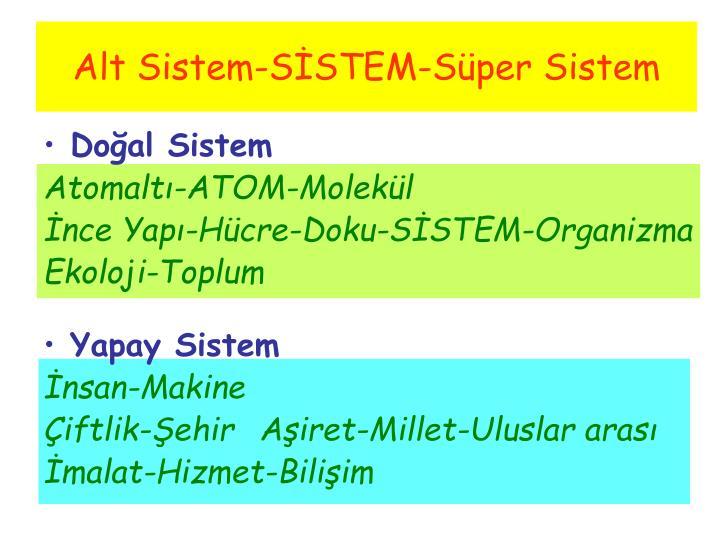 Alt Sistem-SİSTEM-Süper Sistem