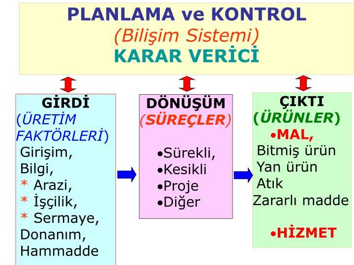 PLANLAMA ve KONTROL
