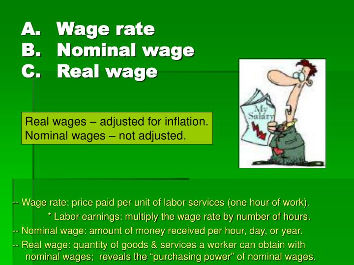 A wage rate b nominal wage c real wage