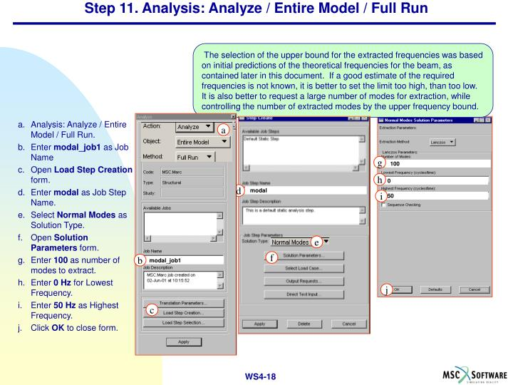 Step 11. Analysis: Analyze / Entire Model / Full Run