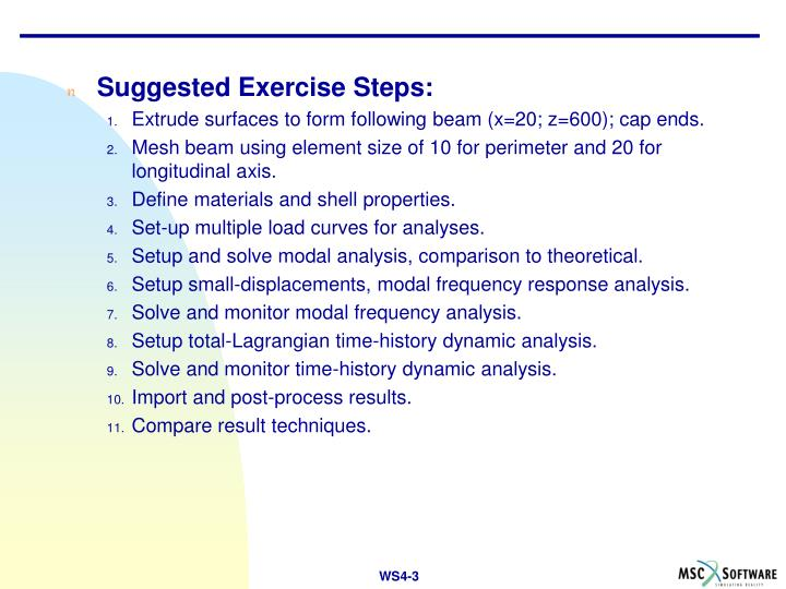 Suggested Exercise Steps: