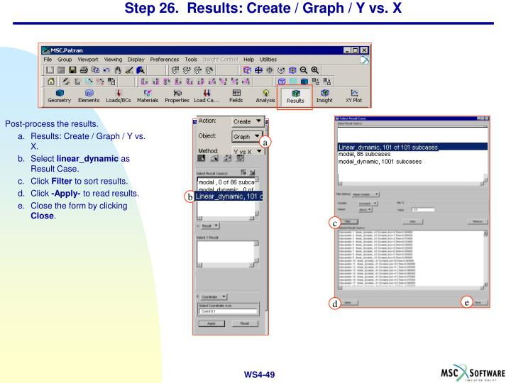Step 26.  Results: Create / Graph / Y vs. X