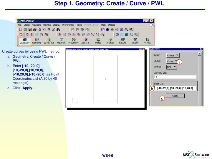 Step 1. Geometry: Create / Curve / PWL